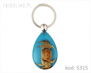 Keychain Pearl and shell, CLEAR BROKAT BLUE