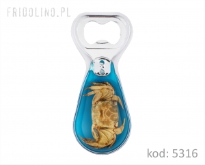 Magnet + Bottle opener 96 mm, Crab, CLEAR BLUE